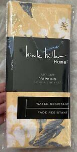 NWT Nicole Miller Marigold Yellow Floral Maxine Set of 4 Dinner Napkins 18x18