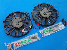 "2 x 9"" 12V Radiator Electric Cooling Fan & Mounting kit"