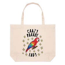 Crazy Parrot Lady Stars Large Beach Tote Bag - Funny Animal Bird Shoulder