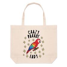 Crazy Parrot Lady Sterne große Strand Tasche-Lustige Tier Vogel Schulter