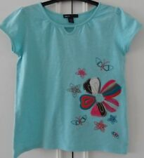 GAP GIRL'S 6-7 YEAR T-SHIRT/TOP SHORT SLEEVE LIGHT BLUE EMBROIDERED FLOWER