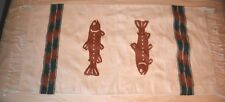 VTG Wool Hand Woven Rug Southwestern Country North Woods Fishing EUC