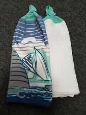Crochet Topped Tea Towel Twin Pack - Beach themed