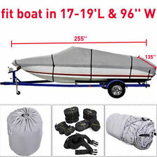 "17 18 19Ft Waterproof Trailerable V-Hull Boat Cover 95"" Beam Heavy Duty Fabric"
