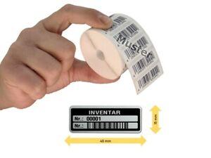 Inventaretiketten, 40x15mm, silber, Nummernkreis 00001-01000, 1.000 Stück