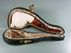 Alte Meerschaumpfeife im Lederetui - Kobra - Schlange - gut erhalten - 11,5cm
