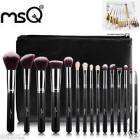 MSQ Deluxe Professional Makeup Brush Set Soft Make Up Brushes+Leather Case New
