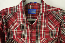 Pendleton Frontier Shirt ls mens size M western pearl snap red black plaid