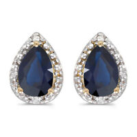 10k Yellow Gold Pear Sapphire And Diamond Earrings