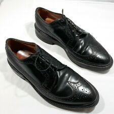 Allen Edmonds 11.5E Macneil Wingtip Blucher Black Dress Shoes w/ Custom Heel