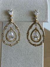 Nadri Triple Teardrop Pave Framed Cubic Zirconia Drop Earrings, Goldtone,NWT $85