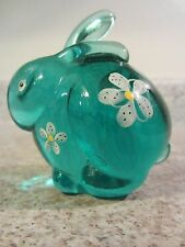 Fenton Glass 2010 Robin's Egg Blue Handpainted Bunny