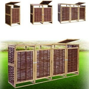 Mülltonnenbox Holz 240L Gartenbox Weide Mülltonnenverkleidung für 1/2/3/4 Tonne