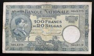 Superb Rare Vintage 1928 Belgium 100 Francs Banknote in VF Condition