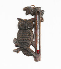 Owl Cast Iron Thermometer Metal Wall Art Garden Ornament Plaque Cafe Home Decor