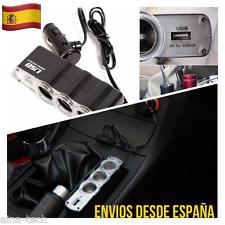 Ladron Duplicador Mechero Para Coche 12v 24v Triple Toma Cargador USB Adaptador