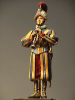 Soldier with Clarinet of Pontifical Swiss Guard Tin Painted Toy Soldier   Art