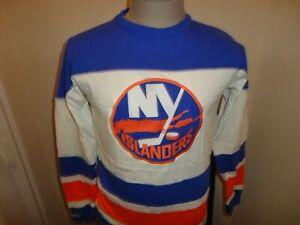 Vtg Sewn New York Islanders Mitchell Ness NHL L/S Cotton Sweater Jersey Adult S