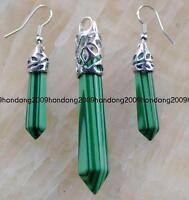 Charmming Green Malachite Column Gemstone Pendant & Earrings one Set