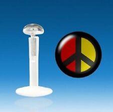 Piercing Labbro Labret Trago Cartilagine Logo Pace e amore Nero giallo rosso