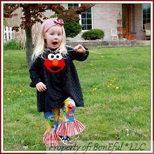 BonEful RTS NEW Boutique Girl 3 Sesame Street ELMO Top Ruffle Pants Minky Outfit