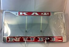 "Kappa Alpha Psi Fraternity ""Nupe"" Red/ Silver License Plate Frame-New!"