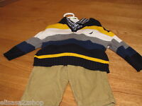 Boy's Nautica outfit set 3/6 M sweater pull over cord pants LS shirt $69.50 NEW
