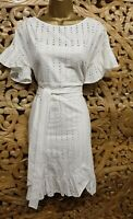 Karen Millen 12 UK Embroidered Voile Ruffled White Dress Holiday Summer Party