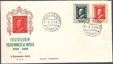 ITALIA BUSTA FDC ARIMINUM 1959 100° FRANCOBOLLI SICILIA  ANNULLO SPECIALE RIMINI
