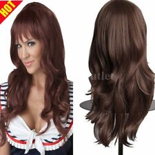 Long Loose Wavy Lace Wig Curly Full Front Natural Human Hair Wigs Women Brown FS