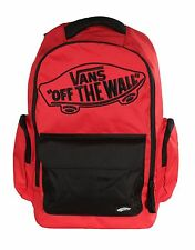 Vans Off The Wall Underhill 2 Red Black Laptop Backpack Bag Travel Mens NEW