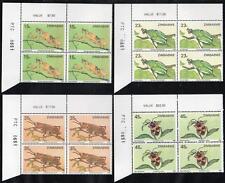 ZIMBABWE MNH 1988 Insects Cylinder Block of 4