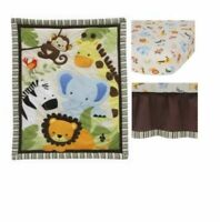 Jungle Crib Bedding Set With Fitted Sheet Bed Dust Ruffle Cotton For Boy Girl