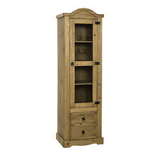Corona 1 Door 2 Drawer Glass Display Unit Distressed Waxed Pine