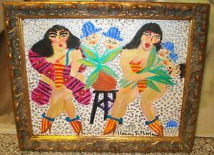 "Nancy Sutherland ""Dames + Darwin III""  Original Painting 2 Figures Boas & Heads"