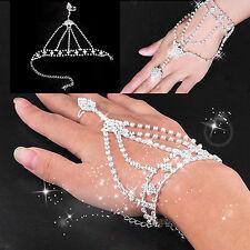 Hot Sale Women's Jewelry Rhinestone Hand Bangle Chain Link Finger Ring Bracelet
