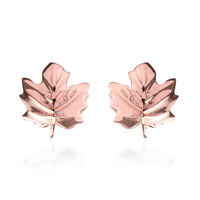 925 Sterling Silver Rose Gold Plated Leaf Stud Earrings Jewelry Gift For Women