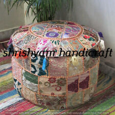 "18"" Bohemian Patchwork Pouf Cover Ottoman Ethnic Decor Indian Pouffe Footstool"