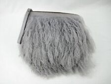 PATRICIA NASH ITALIAN COW LEATHER GRAY PURSE CLUTCH WRISTLET WITH TIBET LAMB FUR
