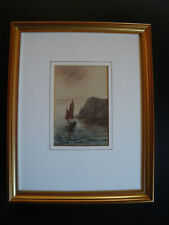 old original watercolour painting vintage signed seascape picture