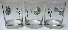 Set Of 3 Beverage Glasses Drinkware 12 Oz Green Bows Baskets Country Pattern