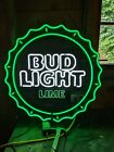 BUD LIGHT LIME BEER SIGN lighted Neo Green  COOL Rare Man Cave Bar