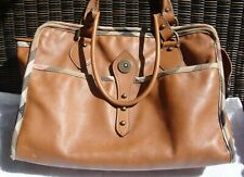 BURBERRY Tan Leather Tote Bag with House Check Trim Made in Italy Authentic