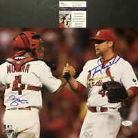 Autographed/Signed YADIER MOLINA & TREVOR ROSENTHAL 11x14 Baseball Photo JSA COA