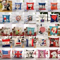 Cotton Linen Vintage Pillow Case Sofa Waist Throw Cushion Cover Home Decor