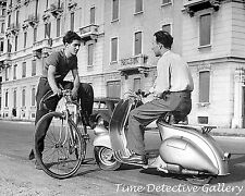 Man Sitting on a Vespa, Milan, Italy - 1948 - Vintage Photo Print
