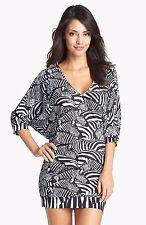 NEW Trina Turk Black White Tanzania Zebra Tunic Swim Cover Up size M retail $144