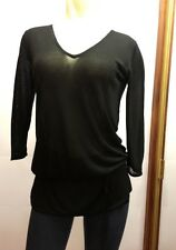 BLACK stretch Sheer long line KNIT TOP sz S SMALL WHITE HOUSE BLACK MARKET