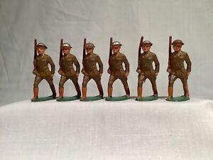 BARCLAY B15 SIX SOLDIERS ON PARADE, LONG STRIDE, TIN HELMETS, EX/NM, CIRCA 1935
