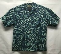 Tommy Bahama Mens Hawaiian Shirt Multicolor Blue Floral Short Sleeve 100% Silk L